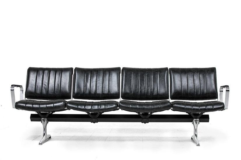 PDXoriginals Burnside Black Leather Studio Sofa Front
