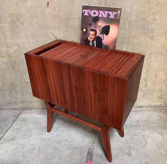 Sapele Record Cabinet with Tambour Doors
