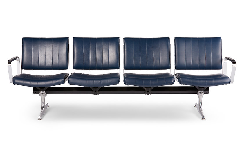 Chromcraft Navy Vinyl 4 Seat Airport Bench