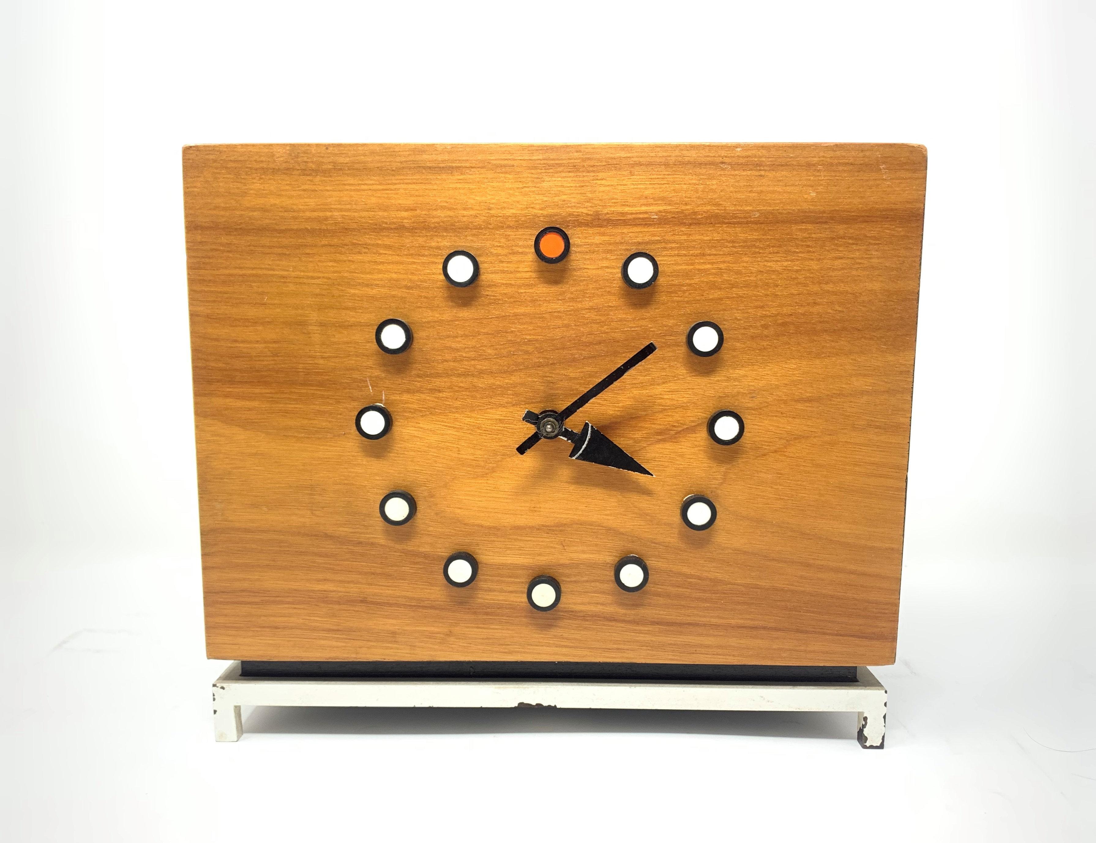 George Nelson Mid-Century Modern Desk Clock for Howard Miller Clock Company
