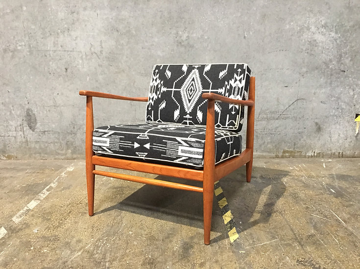 Mid Century Modern Chair with Pendleton Fabric - Scandinavian Design