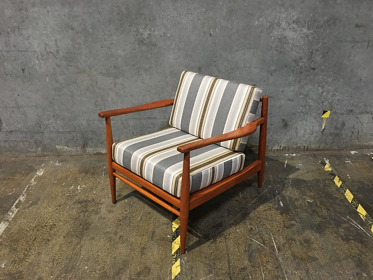 Mid Century Modern Chair with Sunbrella Pendleton Fabric - Scandinavian Design