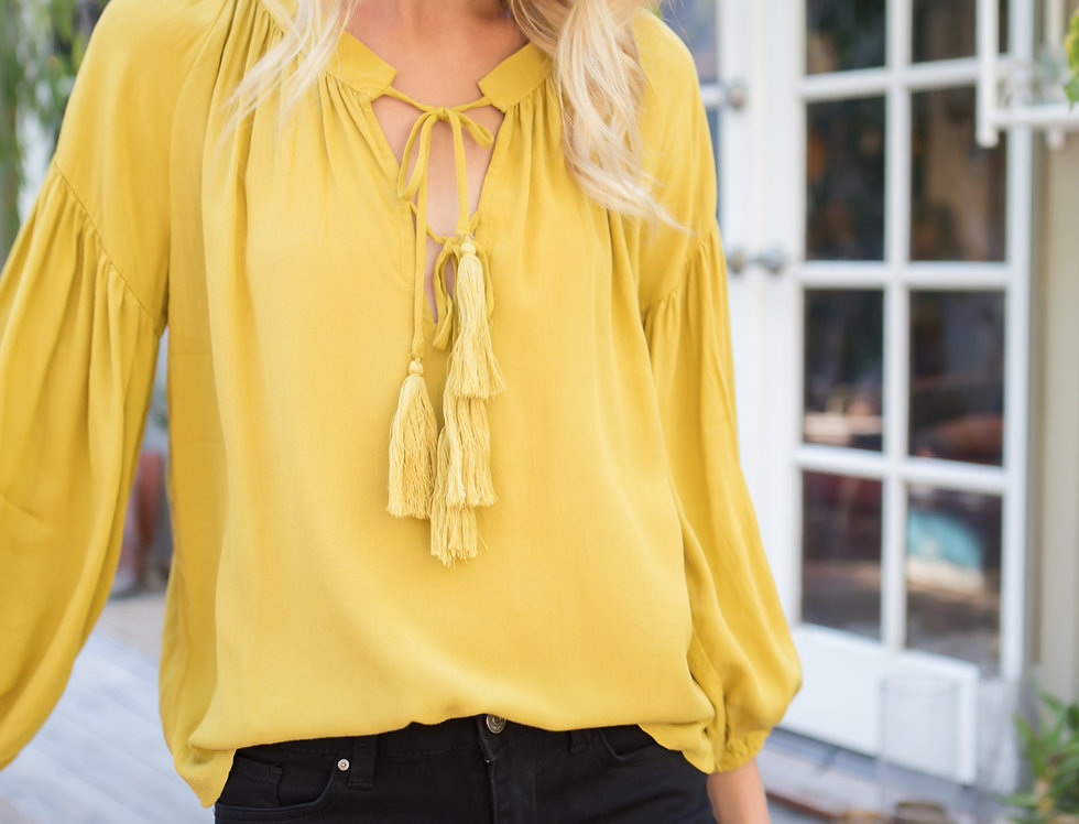 Shirred Detail Top with Tassel & Tie