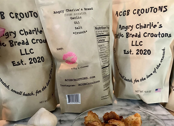 One Case of Angry Charlie's Garlic Bread Croutons: Three 10.5oz Bags