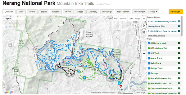 Nerang National Park Mountain Bike Trail Map