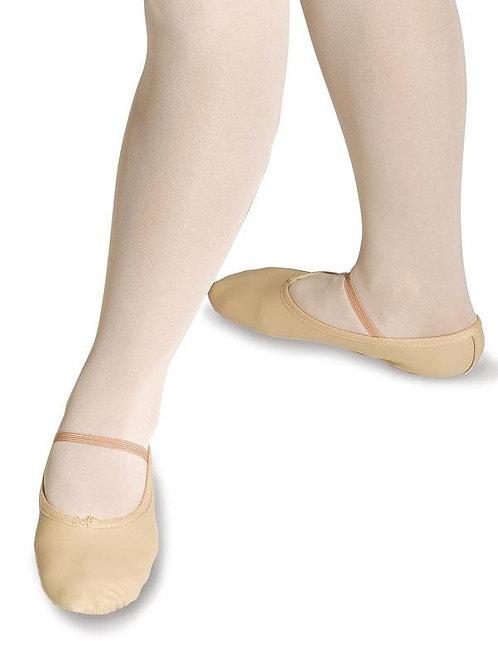 Leder Ballettschläppchen weit ganze Sohle