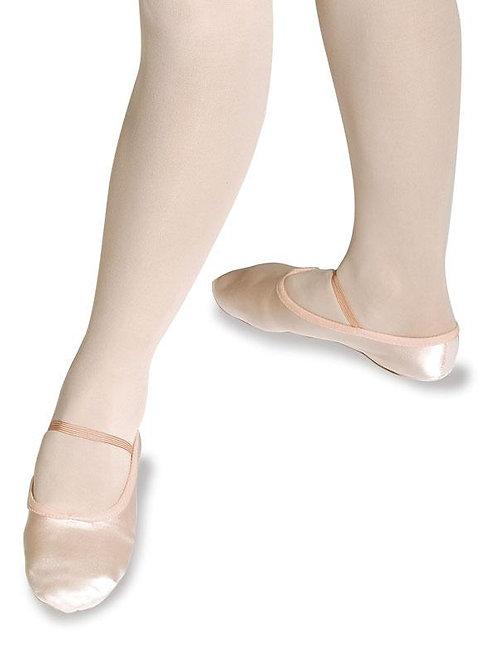 Satin Ballettschläppchen weit ganze Sohle