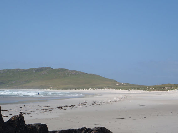 Balephuil Beach on the West Coast of Scotland on the Isle of Tiree near the Scottish islands of Skye, Lewis and Harris close to the North Coast 500 campervan route.