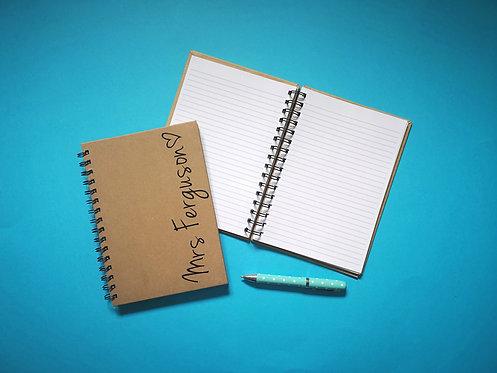 Teacher Name & Heart Notebook