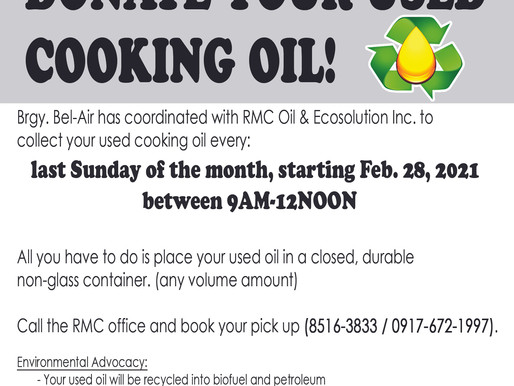 Donate your used cooking oil.