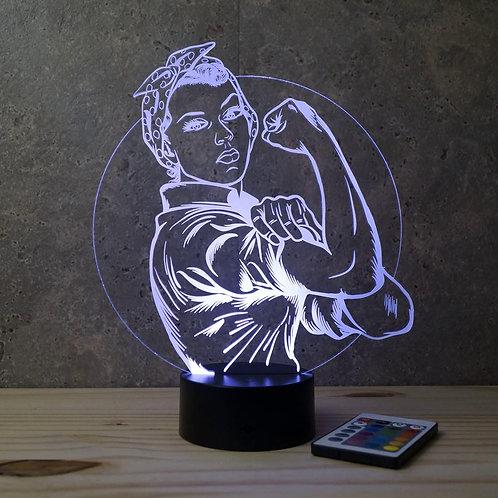 Lampe illusion  3D Rosie la riveteuse personnalisable 16 couleurs & télécommande