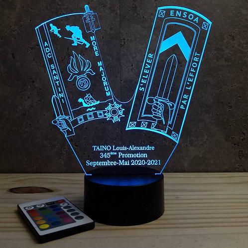 Lampe ENSOA 345ème promo personnalisable 16 couleurs led RGB & télécommande