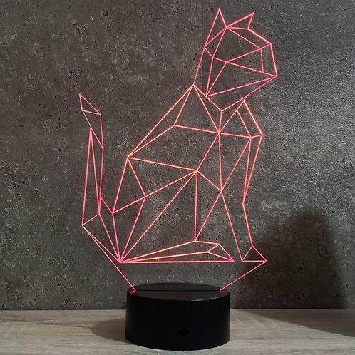 Lampe illusion Chat Origami personnalisable 16 couleurs led RGB & télécommande