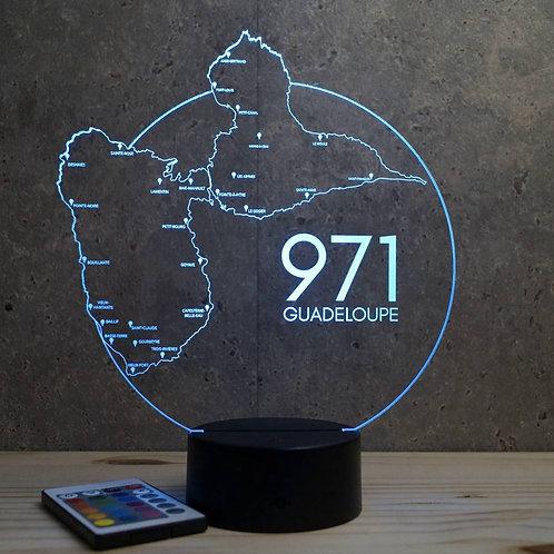 Lampe illusion 3d Guadeloupe personnalisable 16 couleurs & Télécommande
