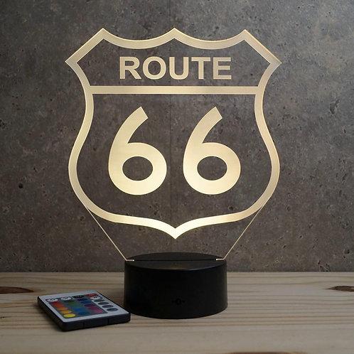 Lampe illusion  3D Route 66 personnalisable 16 couleurs & télécommande