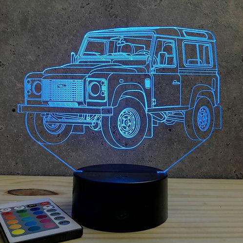 Lampe illusion 3D Defender 90 personnalisable 16 couleurs & télécommande