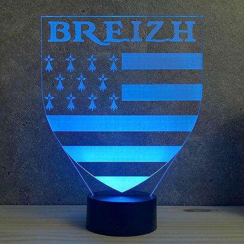 Lampe illusion 3d led Breizh Bretagne