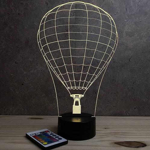 Lampe illusion 3d Montgolfière personnalisable 16 couleurs & télécommande