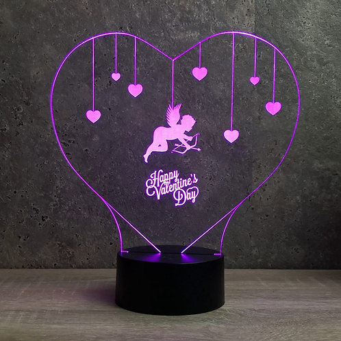 Lampe illusion 3d led Coeur Cupidon