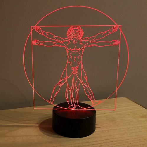 Lampe illusion 3d led Homme de Vitruve Leonard de vinci