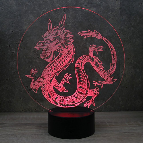 Lampe illusion 3d led Dragon Chinois