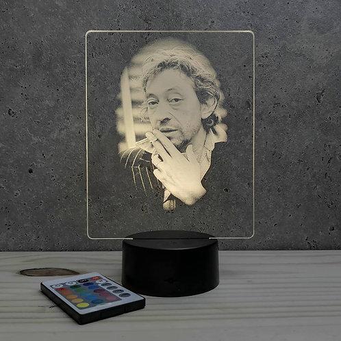 Lampe illusion Serge Gainsbourg personnalisable 16 couleurs led  & télécommande