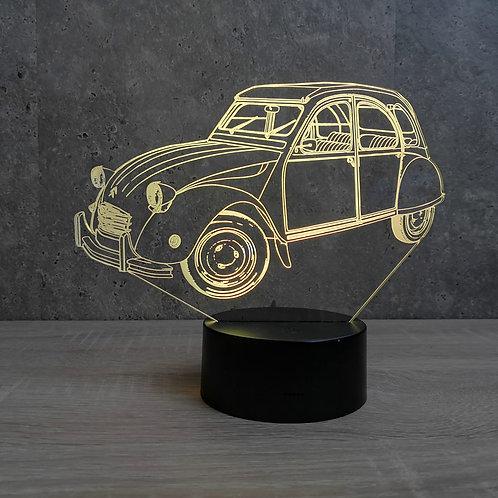 Lampe illusion 3D Citroën 2CV personnalisable 16 couleurs led RGB & télécommande