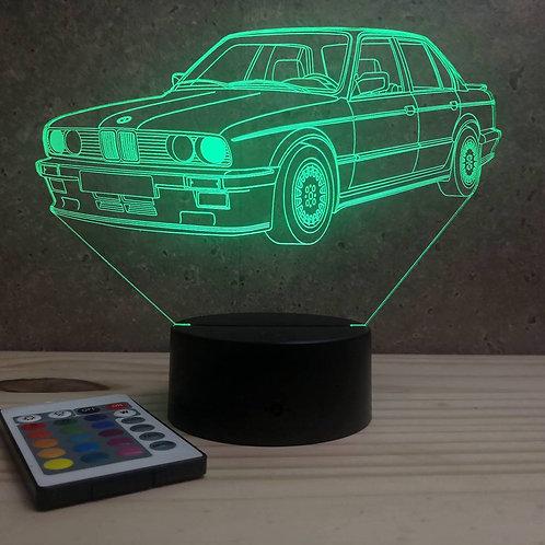 Lampe illusion BMW E30 1985 personnalisable 16 couleurs led RGB & télécommande
