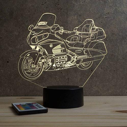 Lampe illusion  3D Honda Goldwing personnalisable 16 couleurs & télécommande