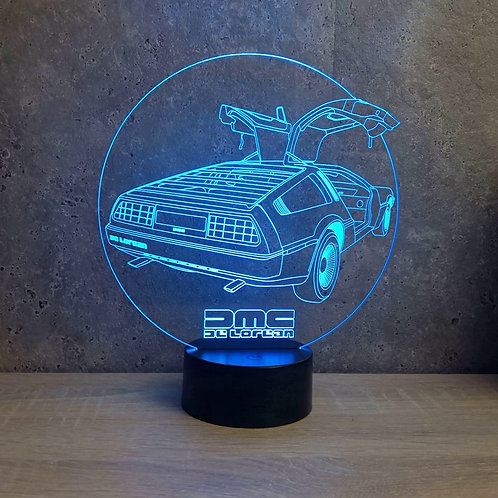 Lampe illusion 3d led De Lorean DMC12