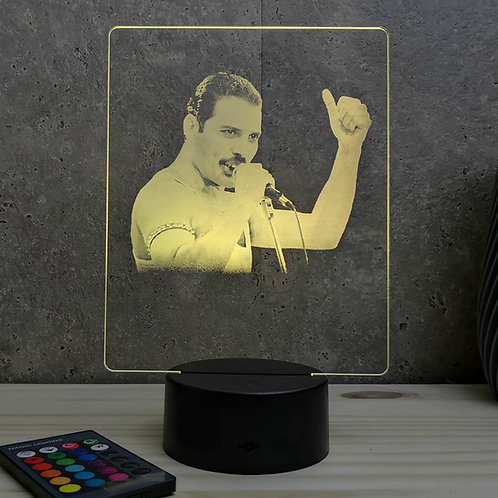 Lampe illusion 3d led portrait Freddie Mercury
