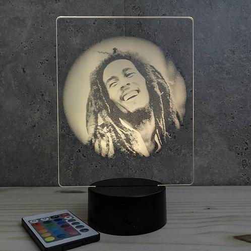 Lampe illusion Reggae Marley personnalisable 16 couleurs led  & télécommande