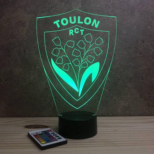 Lampe illusion 3D Rugby Toulon personnalisable 16 couleurs & télécommande