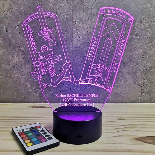 Lampe ENSOA 123ème promo personnalisable 16 couleurs led RGB & télécommande