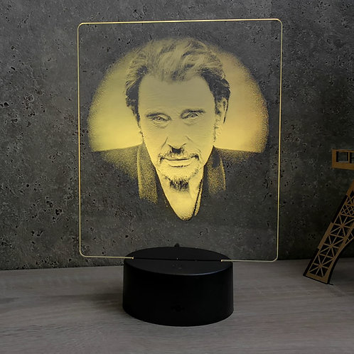 Lampe illusion 3d led Portrait Johnny Halliday