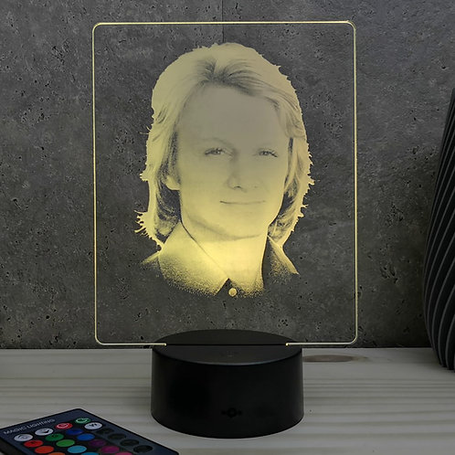 Lampe illusion 3d led Portrait Claude Francois