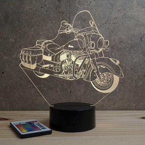 Lampe illusion  3D Indian Vintage personnalisable 16 couleurs & télécommande