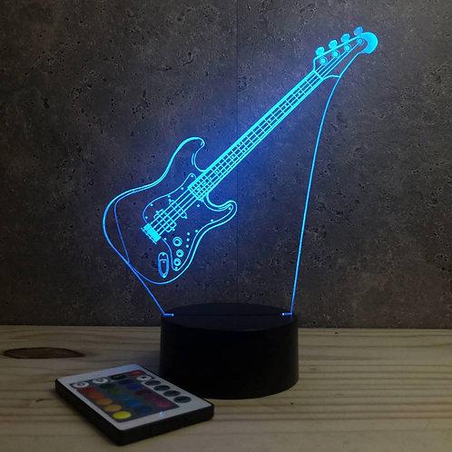 Lampe illusion 3d Guitare Basse personnalisable 16 couleurs & télécommande