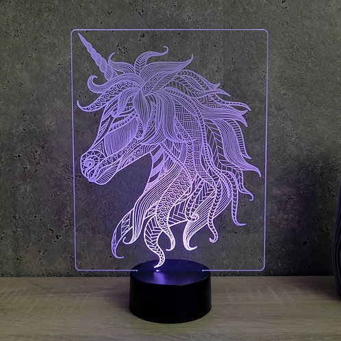 Lampe illusion 3d led Licorne