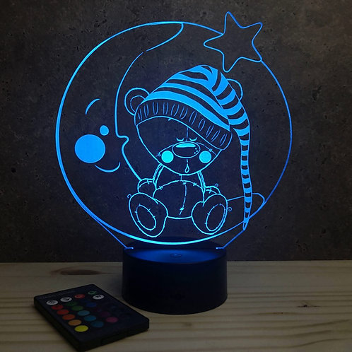 Lampe illusion 3d led Nounours veilleuse enfant