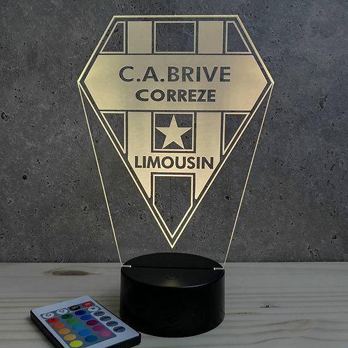 Lampe illusion 3D Rugby Brive personnalisable 16 couleurs & télécommande