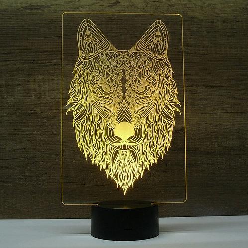 Lampe illusion 3d led Loup Chien