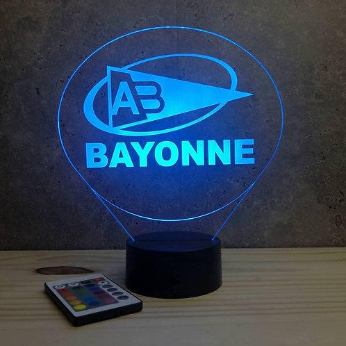 Lampe illusion 3D Rugby Bayonne personnalisable 16 couleurs & télécommande
