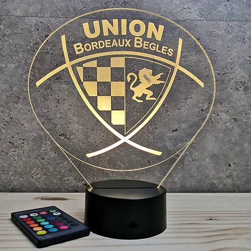 Lampe illusion 3D Rugby Bordeaux personnalisable 16 couleurs & télécommnade