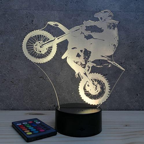 Lampe illusion Motocross personnalisable 16 couleurs led RGB & télécommande