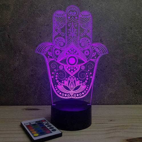 Lampe illusion Khamsa personnalisable 16 couleurs led RGB & télécommande