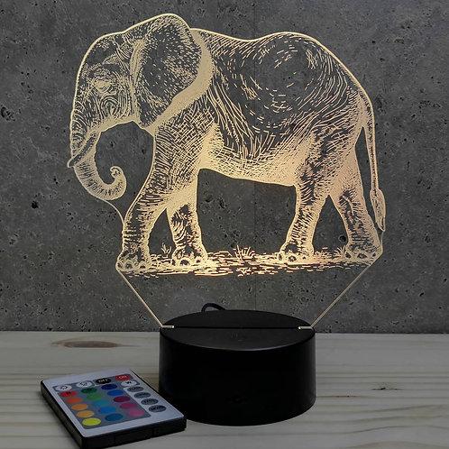 Lampe illusion 3D Éléphant  personnalisable 16 couleurs & télécommande