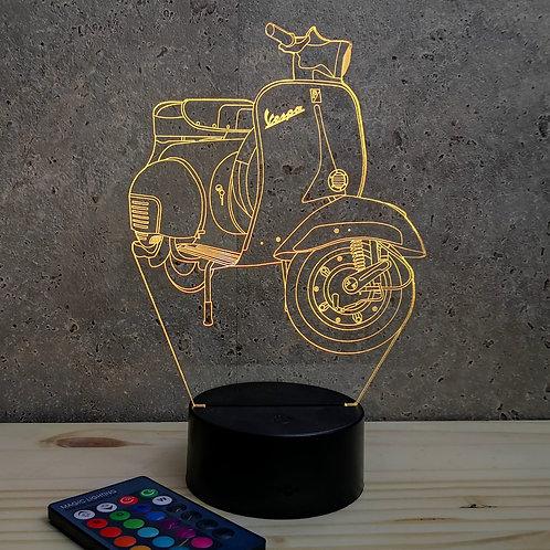 Lampe illusion 3D Vespa personnalisable 16 couleurs led RGB & Télécommande