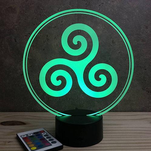 Lampe illusion Triskèle personnalisable 16 couleurs led RGB & télécommande