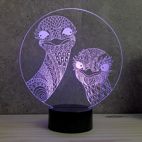 Lampe illusion 3d led Autruche